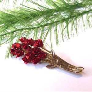 Vintage dozen roses gold brooch pin, DM 97